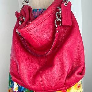 COACH Pebbled Leather Shoulder Hobo Bag Cherry